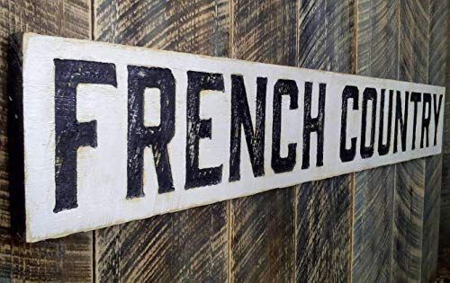 """FRENCH COUNTRY Sign Horizontal 55""""x8""""- Carved in a Wood Board, Rustic Distressed Shop Advertisement Farmhouse Style Wooden Garden Gift Produce Vegetable Tomatoes"""