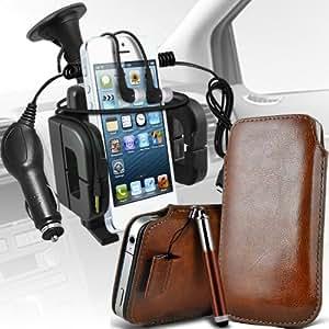 Samsung Galaxy Core Plus G3500 Protección Premium de PU Leather Tire Cord Tab Slip In Pouch Pocket piel con lápiz óptico retráctil, Jack de 3,5 mm auriculares auriculares auriculares, cargador de coche USB Micro 12v y soporte universal de la succión del parabrisas del coche Vent Cuna Brown por Spyrox