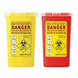 Dolity 2 Pack 1 Quart Sharps Container Biohazard Disposal Needle Collect Box Red & Yellow