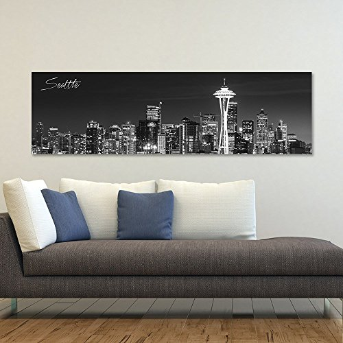 "wallsthatspeak Panoramic Seattle Cityscape Picture, 14"" x 48, Stretched Canvas Art Prints, Wall Decoration for Bedroom or Office, Framed and Ready to Hang, Black and White."