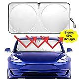 Auto Rover The Original Windshield Sunshade for Tesla Model-3 2018 2019 Custom Fit Sun Shade, Silver Serie,ODM