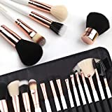 ZOREYA Makeup Brushes Premium Luxury 15pc Rose Gold Make Up Brushes Set With Professional Easy Travel Vegan Leather Makeup Brush Set Case Bag Organizer Kit with Eyebrow Eyeshadow Kabuki
