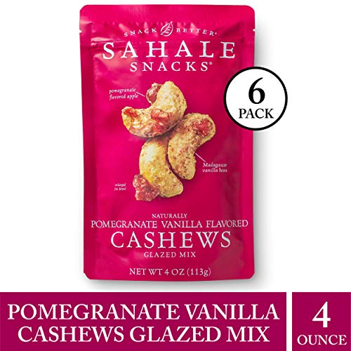 (Sahale Snacks Pomegranate Vanilla Flavored Cashews Glazed Mix, 4 oz., Pack of 6 - Resealable Pouch, Nut Snacks with No Artificial Flavors, Preservatives or Colors, Gluten-Free Snacks)