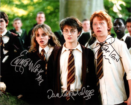 Harry Potter with Daniel Radcliffe & Emma Watson Cast Signed Autographed 8 X 10 Reprint Photo - Mint Condition from Nostalgic Cards & Autographs