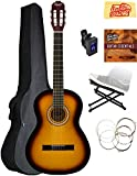 Squier by Fender SA-150 Classical Acoustic Guitar - Sunburst Bundle with Tuner, Foot Rest, Strings, Austin Bazaar Instructional DVD, and Polishing Cloth