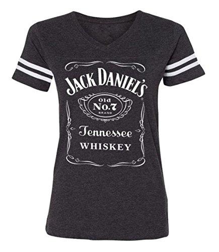 Jack Daniel's Ladies Gray Label Football Style T-Shirt (Large) (Daniels T Jack Shirt White)