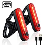 Gretrue USB Rechargeable Bike Rear Light【2 Packs】Powerful LED Bike Tail Lights with 4 Light Modes and 2 USB cables, Headlight Taillight Combinations for Cycling Safety Flashlight Helmet Mountain Bike