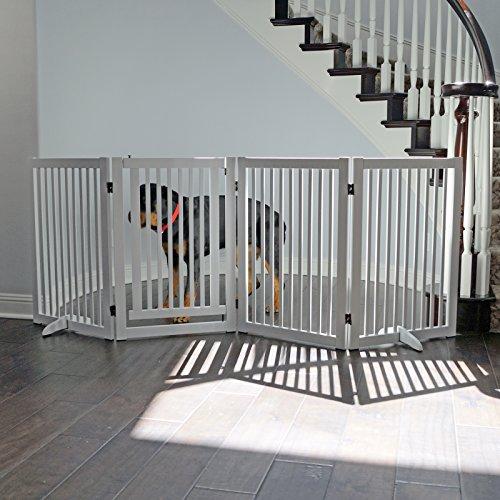 WELLAND Freestanding Wood Pet Gate w/ Walk Through Door, 88-Inch, White by WELLAND (Image #6)