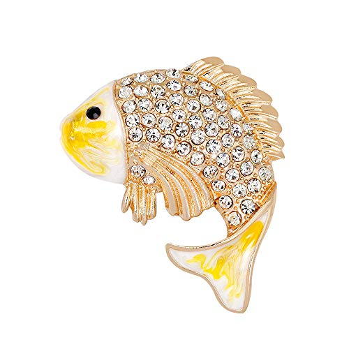 Alonea-Brooch Pin, Multicolor Crystal Diamond Fish Brooch Retro Copper Retro Couple Memorial Jewelry Love Gifts Memorial Brooches Collar (Yellow❤️)