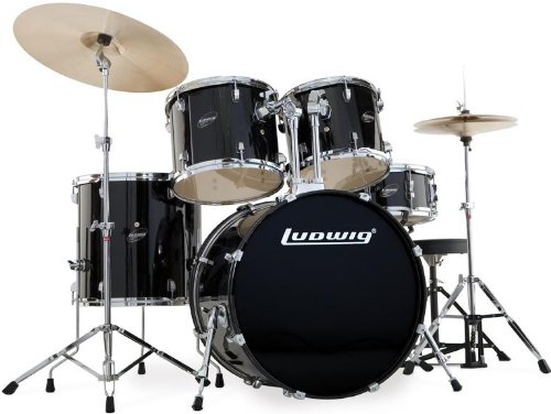 Drum Ludwig Black Tom - Ludwig 5 Piece Accent Drive Drum Set with Hardware & Cymbals (Black)