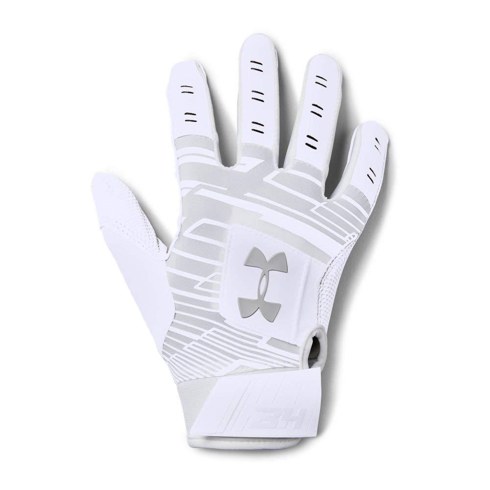 Under Armour Boys' Harper Hustle Baseball Batting Gloves,White (100)/Aluminum,Youth Large