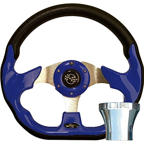 Racer Steering Wheel - GTW Club Car DS Blue Racer Steering Wheel Chrome Adapter Kit (Fits 1982-Up)