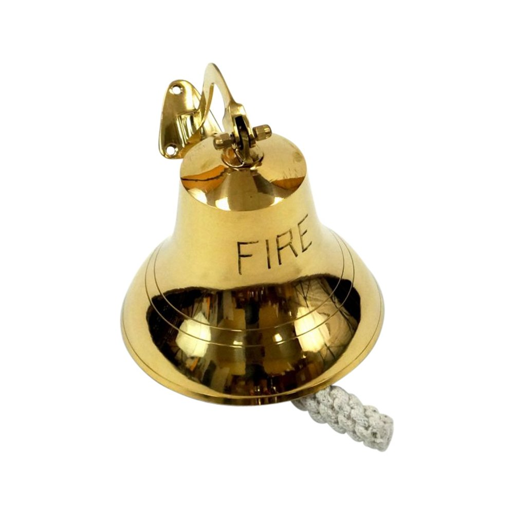 Brass FIRE Bell, Antique Finish - Nautical Decor Brass FIRE Bell
