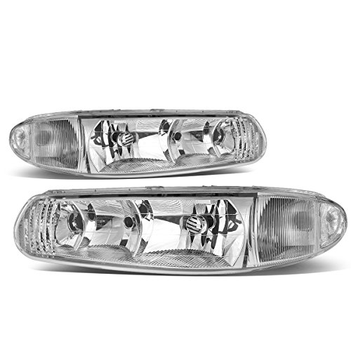 For Buick Century/For Buick Regal Pair of Headlight Lamp (Chrome Housing/Clear Corner) (Brakes Regal Buick)