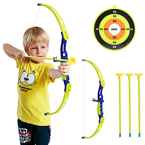 Conthfut Archery Set Kids Green Bow and Arrow Play Toy, Outdoor Hunting Game with 3 Suction Cup Arrows, Target for Boys and Girls -