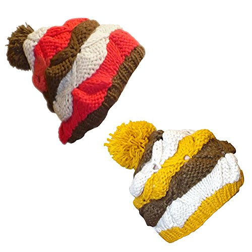 Peach Couture Knit Striped Cozy Warm Cable Knit Winter Crochet Cap Ski Hat Beret (Mustard Striped Combo, Coral Striped Combo) ()