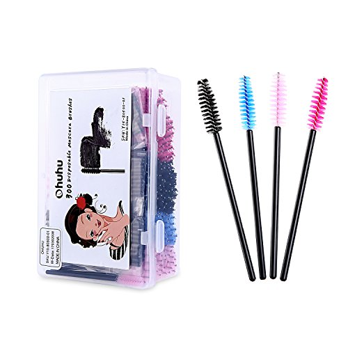 Ohuhu 300 Pcs Mascara Brushes Disposable Eye Lash Eyebrow Eyelash Brushes Mascara Wands Applicator