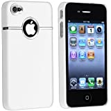 Worldshopping New Deluxe W/chrome Rubberized Snap-on Hard Skin Back Cover Case for AT&T Verizon Sprint Apple iPhone 4 4S 4G- White