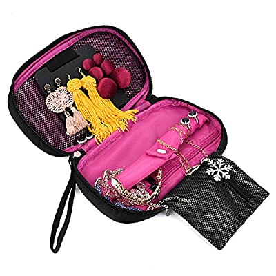 Quilted Travel Jewelry Organizer Bag Case, Soft Padded Travel Jewelry Roll Pouch