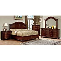 247SHOPATHOME Idf-7736Q-6PC Bedroom-Furniture-Sets, Queen, Cherry