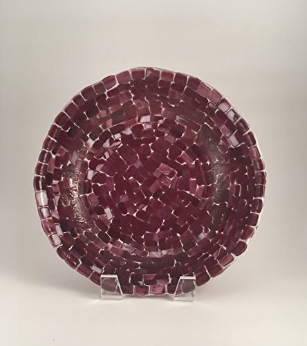 Mosaic shades of cranberry on white 9 inch diameter fused glass bowl - Cranberry Shade