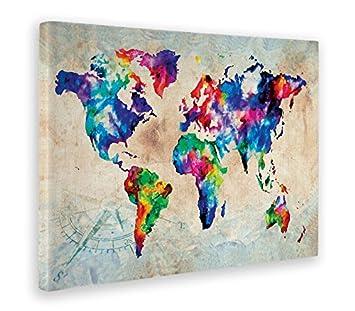World Map Color 50 x 70 CM Giallobus Quadro Stampa su Tela Canvas Mappa A Colori
