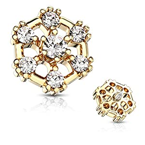 MoBody 7 CZ Hexagonal Top Surgical Steel Internally Threaded Dermal Anchor Body Piercing Top 14G (Gold-Tone)
