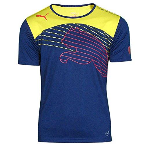PUMA Herren Shirt evoSPEED Cat Graphic, blau/gelb