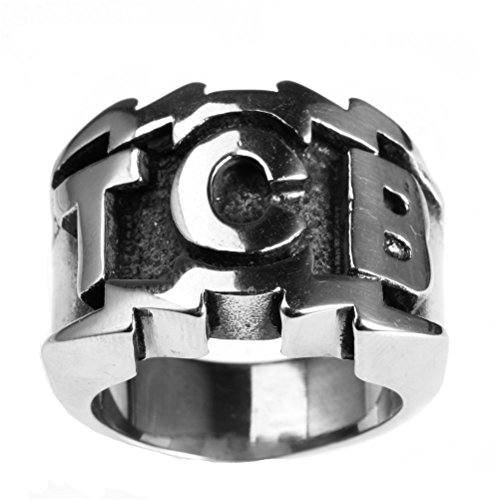 PAURO Men's Stainless Steel Engraved Character TCB Silver Ring Size 9