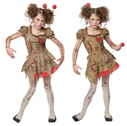 VooDoo Dolly Costume Girls Gothic Possessed Rag Doll Fancy Dress Halloween MD-XL
