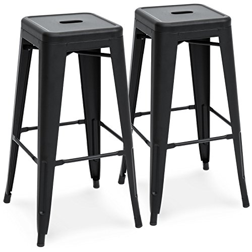 Best Choice Products 30in Set of 2 Modern Industrial Backless Metal Bar Stools - Matte Black (Stool Sets Bar And)