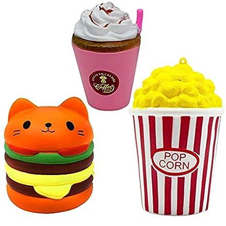 Tirgo Squishies, Squishee, Squishy – hamburguesas para gatos, palomitas de maíz, jumbo