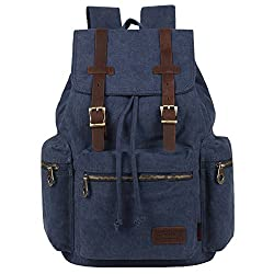 Kaxidy Multi-function Vintage Canvas Leather Hiking Travel Military Backpack Messenger Tote Bag (Blue)