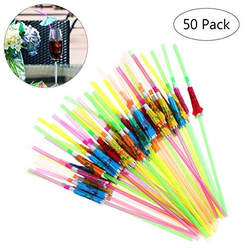 Tinksky 50pcs Tropical Drinking Straws Party Supplies for Luau Hawaiian (Mixed Color)