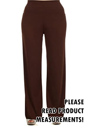 Women's Plus Size Palazzo Fold Over Waist Wide Leg Stretch Lounging Pants (1X, Brown)