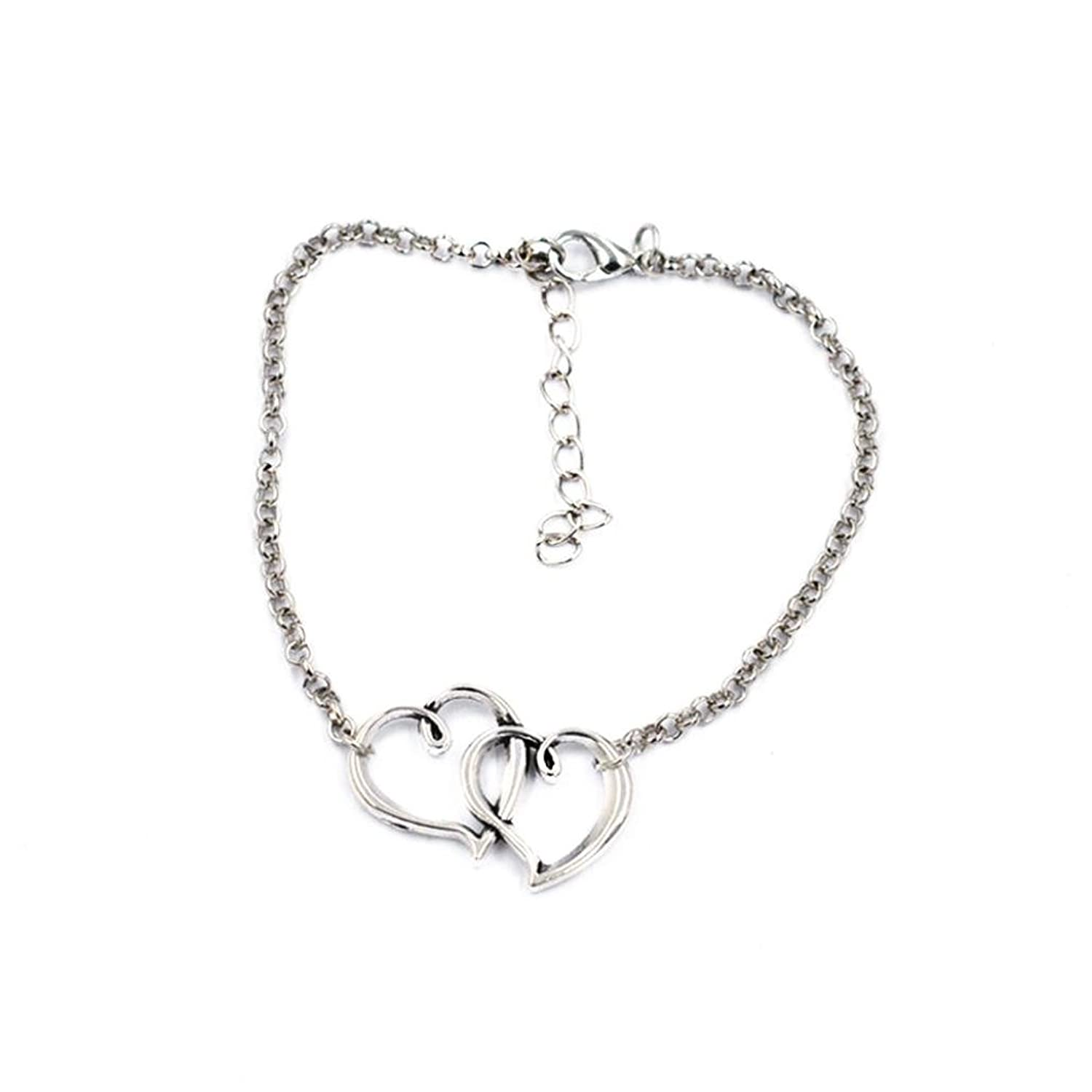 Necoip Double Heart Chain Beach Sexy Sandal Anklet Ankle Bracelet Jewelry