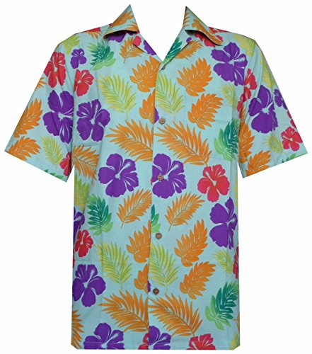 Hawaiian Shirts Mens Hibiscus Floral Leaf Printed Beach Aloha Camp Party M (Hawaiian Party Dress)