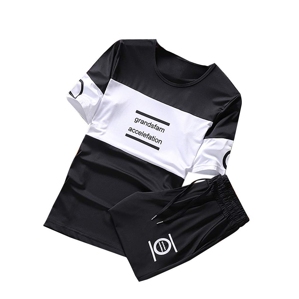 Shorts Suit Thin Running Jogging Athletic Sports Set OcEaN Activewear Tracksuit Mens Short Sleeve Tops