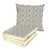 iPrint Quilt Dual-Use Pillow Baby Newborn Sun Teddy Bear Ribbon Feeder Pacifier Chick Kitty Cat Design Decorative Multifunctional Air-Conditioning Quilt Pale Blue Cinnamon Apricot