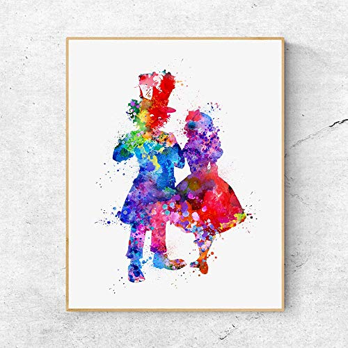 Mad Hatter and Alice Watercolor Movie Artwork Wall Hanging Art Print Alice Wall Art Decor Nursery Room Decor Paper 8x10 Inches No -