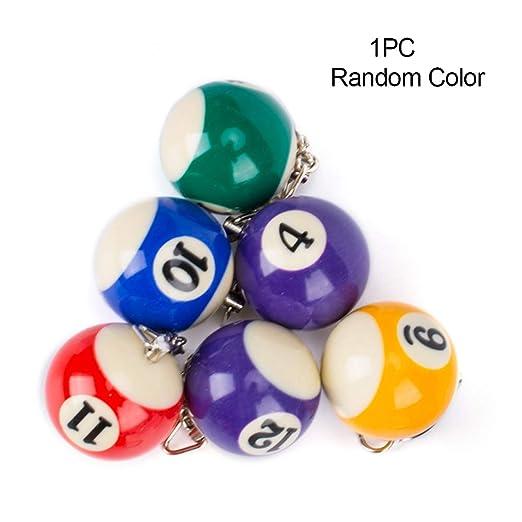 Llavero con forma de billar, mini colores surtidos, bolas pequeñas para colgar en la piscina, colgante de billar, llavero