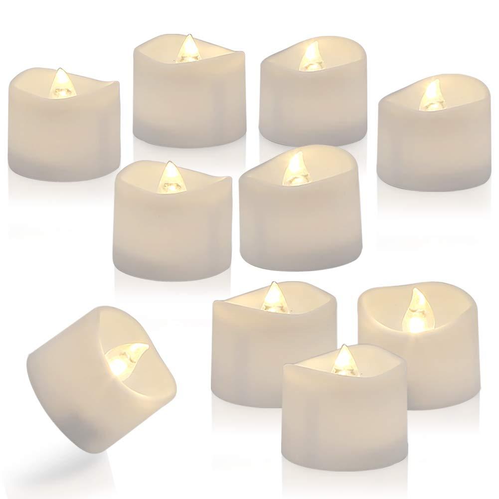 Dia1.4 x H 1.3 warme wei/ße homemory 12 led teelichter mit Timer 3.6 x 3.6 cm elektrische flackernde batteriebetriebene Kerzen 6 18 Stunden aus Warmwei/ß Plastik