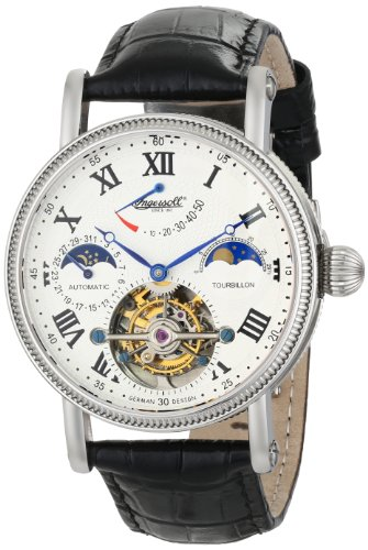 Ingersoll Men's IN5101WH Sonoma Tourbillon Stainless Steel Automatic Watch with Black Leather Band