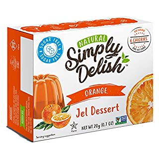 Simply Delish Natural Orange Jel Dessert - Sugar Free, Non GMO, Gluten Free, Fat Free, Vegan, Keto Friendly - 0.7 OZ (Pack of 3)