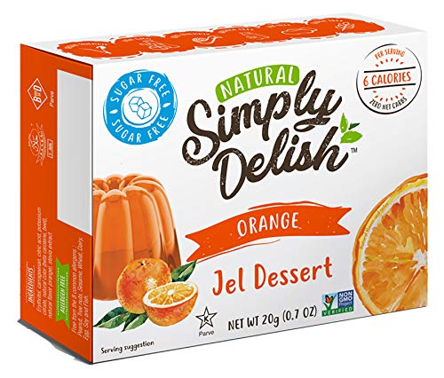 Simply Delish Natural Orange Jel Dessert - Sugar Free, Non GMO, Gluten Free, Fat Free, Vegan, Keto Friendly - 0.7 OZ (Pack of 3)