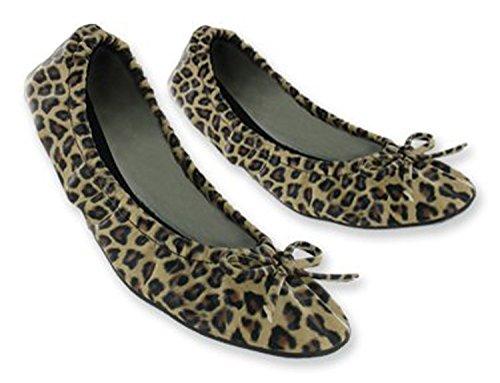 Sidekicks Damen faltbare Ballerinas mit Tragetasche Leopard