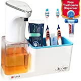 Pykal 2-in-1 Automatic Soap Dispenser Touchless & Organizer 15 oz | 1 YR Wnty & Toothpaste Squeezer Included | Luxury Gift Box for HIM or HER for Christmas