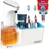 Pykal 2-in-1 Automatic Soap Dispenser Touchless & Organizer 15 oz | 1 YR Wnty & Toothpaste Squeezer...