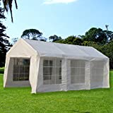 SNAIL 10 X 20 ft. Heavy Duty Domain Domain Carport, Car Canopy Shelter, Enclosed Party Tent with Windows and Sidewalls, White
