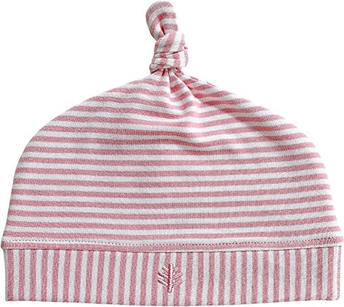 Coolibar UPF 50+ Baby Beanie Hat - Sun Protective (One Size- Pink/White Stripe)